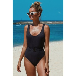 Black Ribbed One-piece Swimsuit with Belt