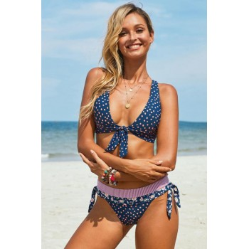 Blue Print Knotted Halter Neck Criss Cross Back Bikini Swimsuit Striped