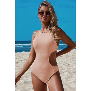 Pink Frilled Neck Cut-out Ribbed One-piece Swimwear