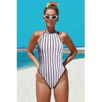 White Stripes Open Back One-piece Swimwear Red