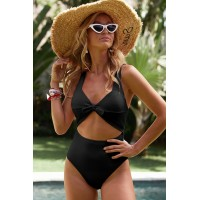 Yellow Cut out One-piece Swimsuit Black