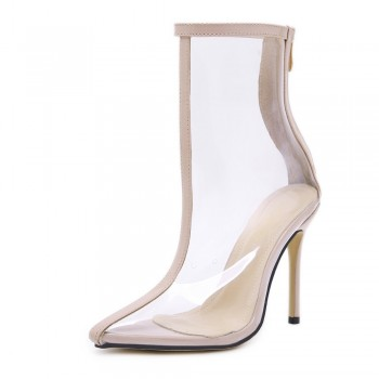 New Style Popular High Heels Ankle Boots PVC Transparent Back Zipper Solid Color Pointed Toe Fashion Boot Clear Shoes Sexy Pumps