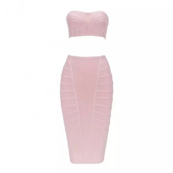 Ailigou 2019 Fall Women 2 Two Bandage Set Skirt Celebrity Party Sexy Bodycon Off Shoulder Backless Knee Skirt Vestidos