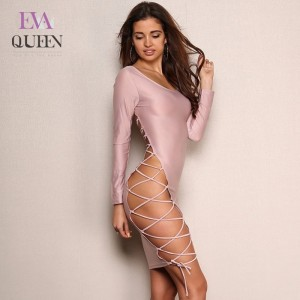 EvaQueen Sexy Evening Club Party Dresses Women O Neck Long Sleeve Side Hollow Out Vestidos Vintage Summer Dress Hot Sale 2018