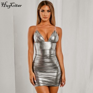Hugcitar 2019 sleeveless reflective V-neck sexy slip mini dress autumn winter women outfits Christmas party streetwear