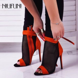 New Arrivals Sexy Open Peep Toe Hollow Sandals Boots Ankle Boots Side Zipper Cross Tied High Heel Pumps Gladiator Ankle Boots