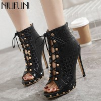 NIUFUNI Summer Women's Ankle Boots Gladiator Sandals Boots Metal Decoration Thin High Heels Sexy Peep Toe Lace-Up Zip Shoes
