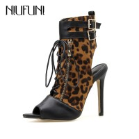 NIUFUNI Women's Sandals Boots Sexy Leopard Ankle Wrap Shoes Woman Fashion Lace Up HIgh Heels Women Boots Female Shoes Summer