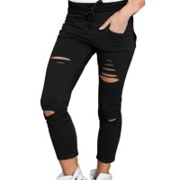 Denim Jeans Ripped Skinny Cut High Waisted Legging Skinny High Waist Stretch Ripped Black Green White