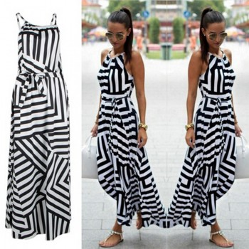 Dress Boho Striped Sleeveless Maxi Long Dress Beach Style Strap Sundress Black and White