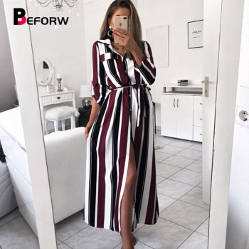 Lady Turn-Down Collar Button Lace Up Long Shirt Dress Women Autumn Winter Long Sleeve Stripe Maxi Dresses Black Purple