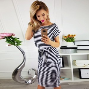 women vintage draped sexy bodycon vestidos striped short sleeve slim