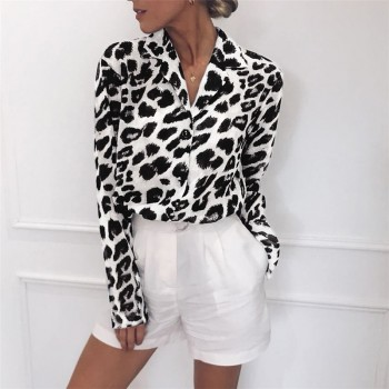 Long Sleeve Sexy Leopard Print Blouse Turn Down Collar Top Brown GRAY PINK White