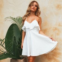 Women Summer Straps Beach Chiffon Dress Sexy V Neck Open Back Lace Up Ruffles Mini Dresses White Blue Red