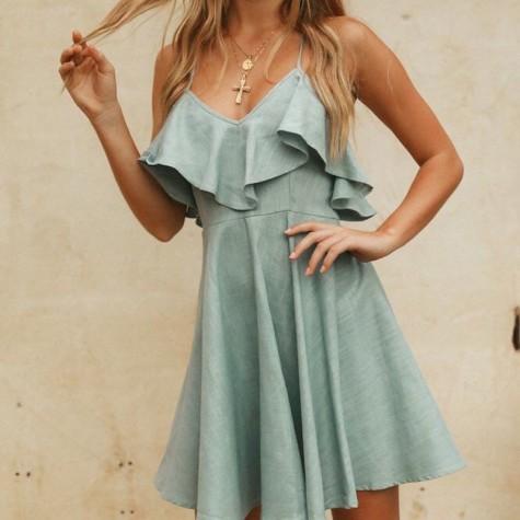 7552dde69a08 ... Women Summer Straps Beach Chiffon Dress Sexy V Neck Open Back Lace Up Ruffles  Mini Dresses ...