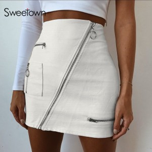 Womens Street Style A Line Skirt Summer High Waist Vogue Steampunk Leather Short Skirt White
