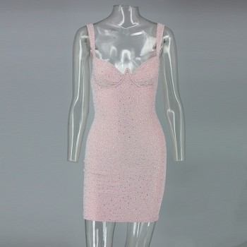 Elegant Sequins Evening Party Dress Summer Sexy Deep V Night Out Tank Sleeveless Pink