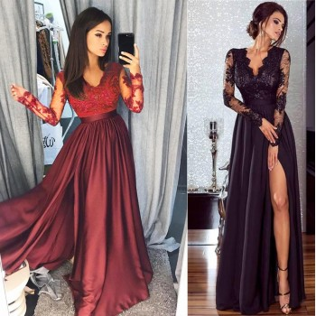 Lace Evening Party Prom Gown Ladies Formal Empire Waist Long Dress Solid V-Neck Long Sleeve Floor-Length Black Red