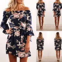 Off Shoulder Floral Print Chiffon Dress Boho Style Short Party Beach Dresses blue