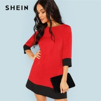 SHEIN Red Contrast Trim Tunic Dress Workwear Colorblock 3/4 Sleeve Short