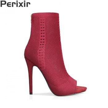 Perixir Stretch Fabric Peep Toe Hollow Out Half Mid Calf Boots for Women Shoes 12cm Super High Heel Boots Rome Style Botas Mujer