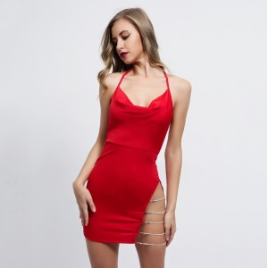 EvaQueen Backless Sexy Summer Dress Women Spaghetti Strap Party Dress Bodycon Split Mini Dresses Beach Club Vestidos 2019