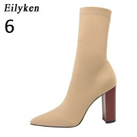 Eilyken Comfort Stretch Women Sock Boots Square High Heel Ankle Boots Fashion Pointed Toe Fall Stretch Shoes Black Big Size 2020