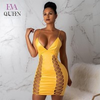 EvaQueen Sexy PU Leather Dress Women Summer Party Bandage Dress Yellow Spaghetti Strap Mini Bodycon Dress Elegant Vestidos 2018