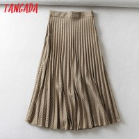 Tangada women plaid pleated midi skirt faldas mujer vintage side zipper office ladies elegant chic mid calf skirts 6A01