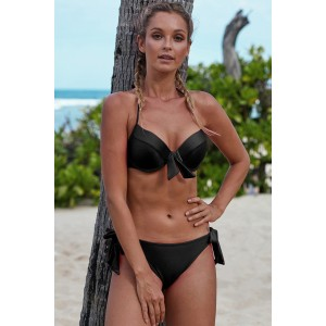 Black Push Up Bikini with Ties Rose