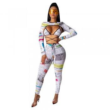 ANJAMANOR Fashion Newspaper Print Sexy Long Sleeve 3 Piece Set Bandage Pant Matching Sets Fall Club Outfits for Woman D36-AA89