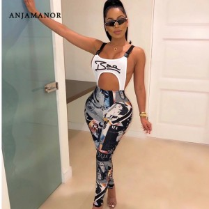 ANJAMANOR Fashion Graffiti Print Sexy Bodycon Jumpsuit Buckle Hollow Out Backless Overalls for Women Club Outfits D91-AC63