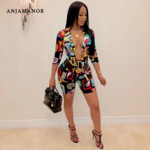 ANJAMANOR Fashion Print Sexy Two Piece Set Blazer Shorts Matching Sets Women Pant Suits Business Casual Outfits D29-AF24