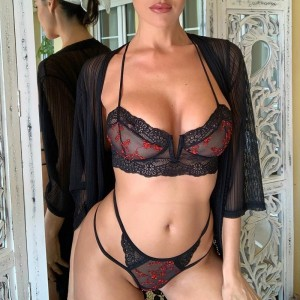 Embroidery Bra And Panties Set Floral Underwear Women Set Sexy Transparent Bras Lenceria Lingerie Ultra Thin Push Up Black 2019