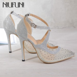 NIUFUNI 2020 Sexy Sandals Pumps Pointed Toe High Heels Fashion Mesh Rhinestone Wedding Dress Pumps Buckle Strappy Silver Heels