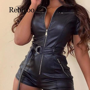 PU leather rompers womens jumpsuit Summer sashes zip up leather jumpsuits short Sexy black bodycon overalls Short jumpsuit