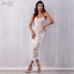 Adyce 2021 Summer Sexy Lace Bandage Dress Women Vestidos Spaghetti Strap Bodycon Club Dress Elegant Celebrity Runway Party Dress
