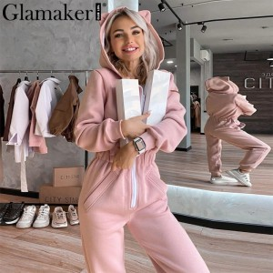Glamaker Pink casual long sleeve long jumpsuits & rompers Women zipper fitness winter hood jumpsuit Autumn outfits 2020new