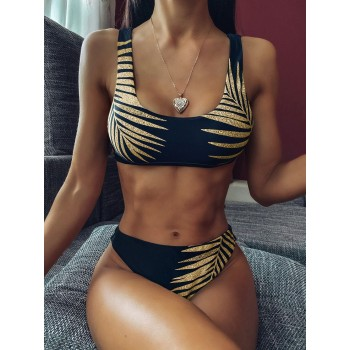 Sexy Leaves Printed Swimsuit High Waist Bikini Women Swimwear Sport Bikini set New Bather Flower Bathing Suit Swim