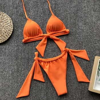 NewAsia Sexy Bikini 2019 Swimwear Women Summer Halter Lace Up Bow Push Up Padded Bra Micro Bikini Thong Two Piece Set Beachwear