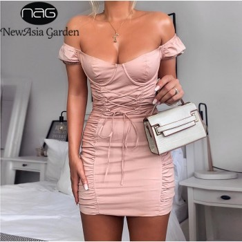 NewAsia Puff Sleeve Party Dress Women Summer Off Shoulder Sexy Bodycon Dress Corset Lace Up Tight Mini Ruched Dress Pink Dresses