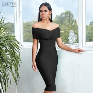 ADYCE New Summer Off Shoulder Bandage Dress Women 2021 Sexy Short Sleeve Midi Bodycon Club Celebrity Evening Runway Party Dress