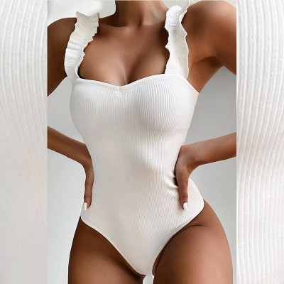 New 2020 Sexy White Ruffled One Piece Swimsuit Women Swimwear Female Bather Bathing Suit Push Up Monokini SwimWear 5338