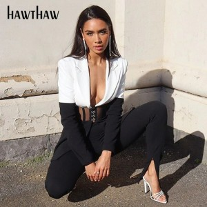 Hawthaw Women Autumn Winter Long Sleeve V Neck Color Block Streetwear Ladies Blazer Tailored Business Coat 2020 Fall Clothes