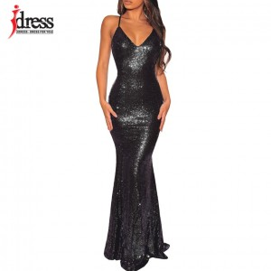 Black/ Gold/ Green Women Elegant V Neck Sleeveless Evening Party Maxi Long Dress Sexy Backless Sequin