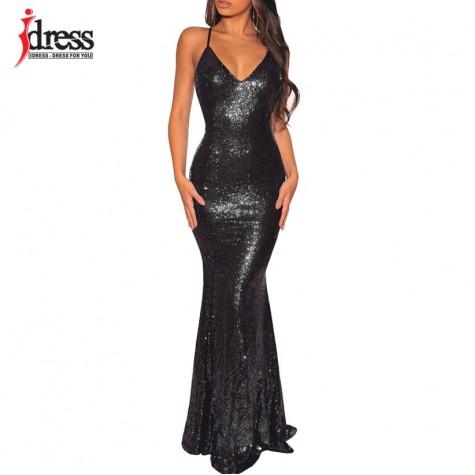 b5642e61dc6 Black  Gold  Green Women Elegant V Neck Sleeveless Evening Party Maxi Long  Dress Sexy Backless Sequin