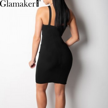 Black hollow out bodycon v neck sexy short dress Women Red Black