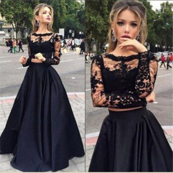 Chiffon Solid colors Autumn Pretty Vestidos Famale elegant Lace Hollow Out Dress Long Sleeve Long Party Dress Black