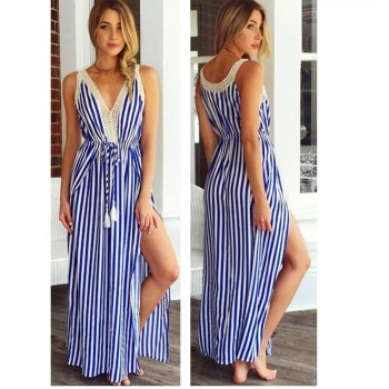 Dress Striped Summer Tassel Sleeveless Loose V-neck Cotton Real 2018 New Style Women Vest Stripe Blue