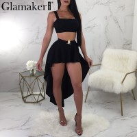 Metal waist buckle black crop sexy dress Women asymmetric strap party dress Female two-piece suit summer dress